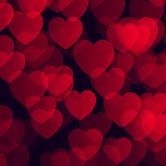 Fondo de san valentín con diseño de corazones bokeh