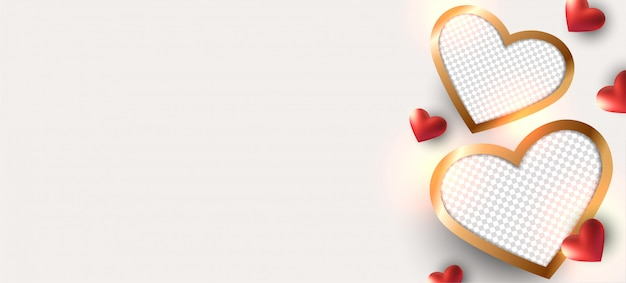 Fondo de san valentín. diseño de marco de fotos.