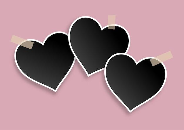 Fondo de san valentín con diseño de marcos de fotos en blanco en forma de corazón