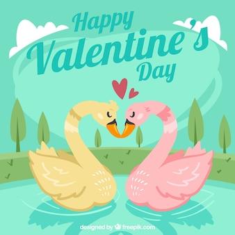 Fondo de san valentín con dos cisnes