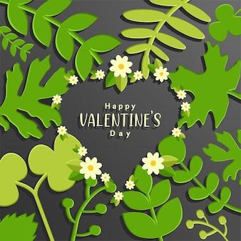 Fondo de san valentín con flores y hojas verdes.