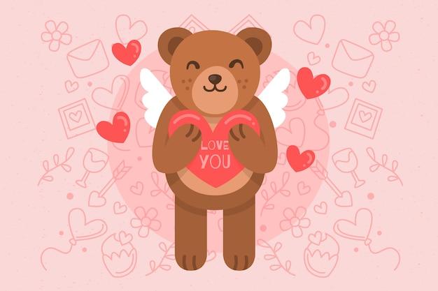 Fondo de san valentín con lindo oso