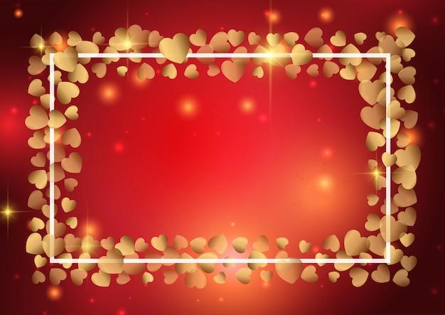 Fondo de san valentín con marco de corazón de oro