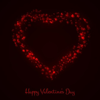 Fondo de san valentín negro con corazón rojo