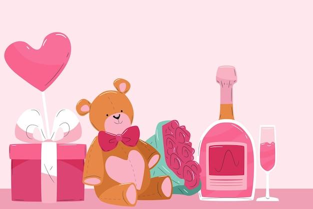 Fondo de san valentín con osito de peluche y champagne