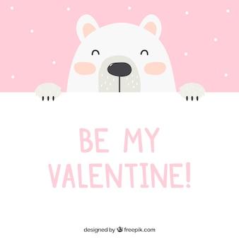 Fondo de san valentin con oso polar