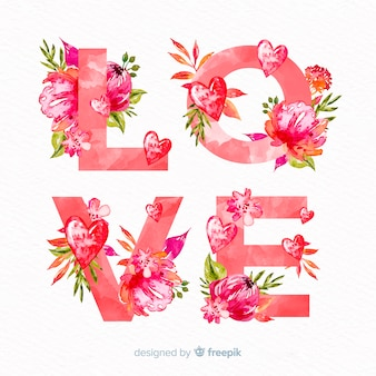 Fondo san valentín palabra floral