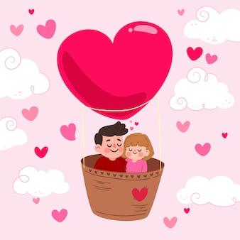 Fondo de san valentín con pareja en globo de aire caliente