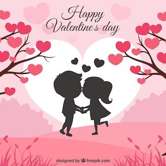 Fondo de san valentín con pareja jóven besando