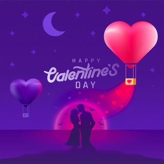 Fondo de san valentín con pareja de silueta y globos en forma de corazón. san valentín al atardecer romántico.