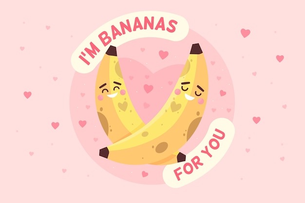 Fondo de san valentín con plátanos