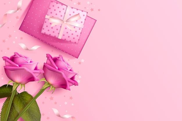 Fondo de san valentín con rosas y regalos.