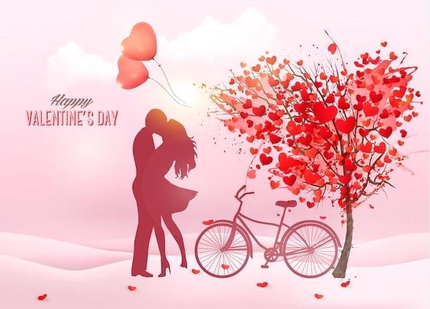 Fondo de san valentín con una silueta de pareja besándose, árbol en forma de corazón y una caja.