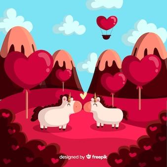 Fondo san valentín unicornios besándose