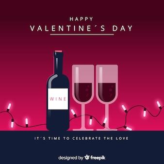 Fondo san valentín vino plano
