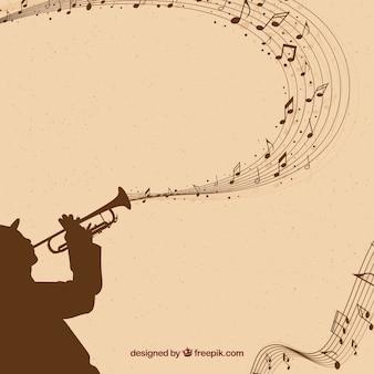 Fondo de saxofonista con notas musicales