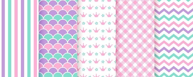 Fondo de scrapbooking patrón sin costuras ilustración. estampado de moda rosa verde morado.