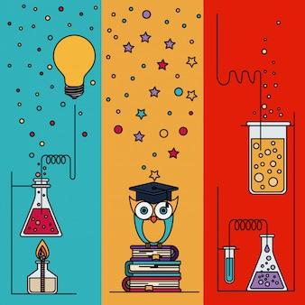 Fondo de sección multicolor con destellos y búho con elementos laboratorio y conocimiento