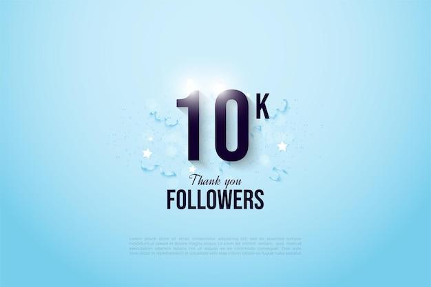Fondo seguidor de 10k con un fondo azul degradado que cuelga sobre la figura.
