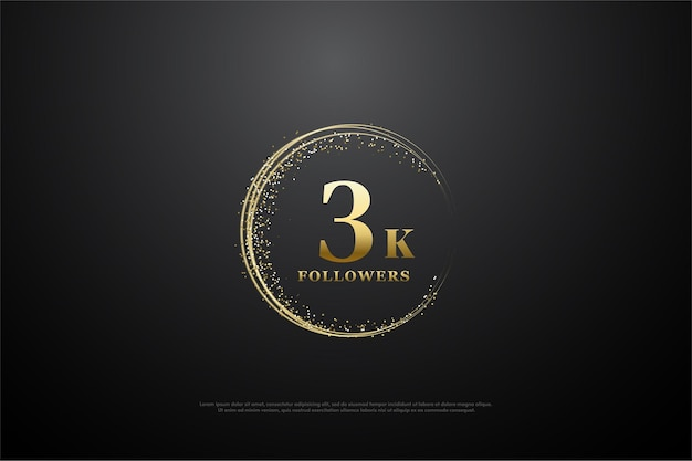 Fondo de seguidor de 3k con números circulares de arena dorada