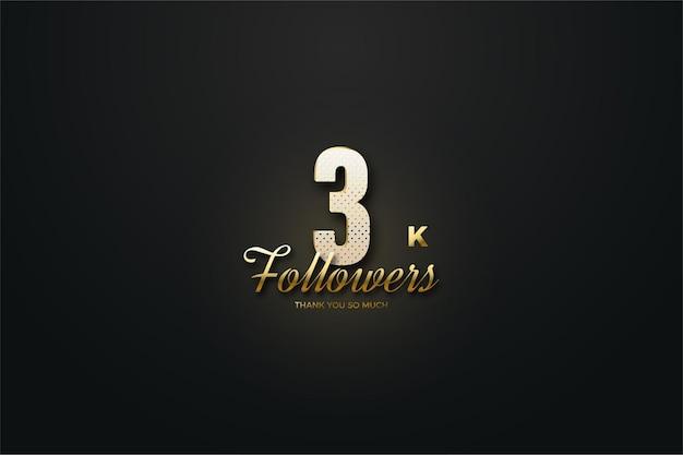 Fondo de seguidores de 3k con figura brillante