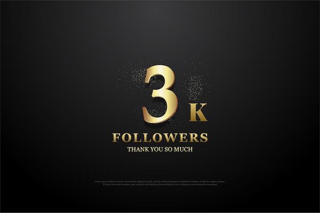 Fondo de seguidores de 3k con números adornados con purpurina