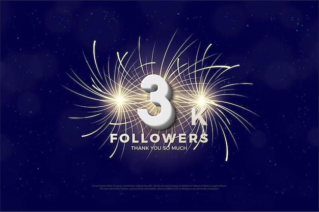 Fondo de seguidores de 3k con números y garabatos coloridos