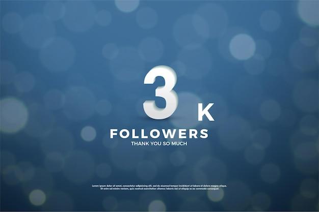 Fondo de seguidores de 3k con números sobre fondo azul marino