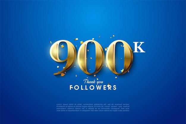 Fondo de seguidores de 900k con números dorados.