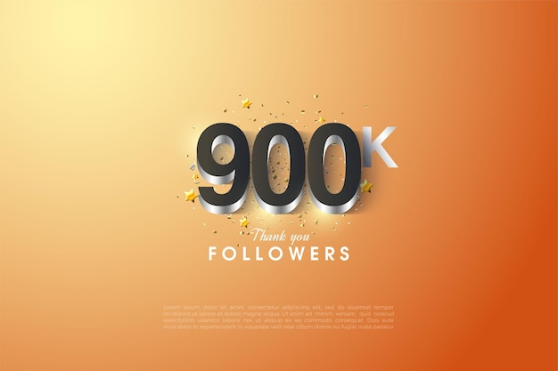 Fondo de seguidores de 900k con recubrimiento numérico plateado