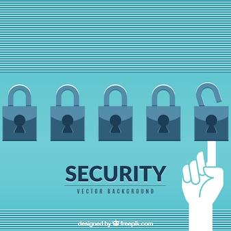 Fondo de seguridad con candados en diseño plano