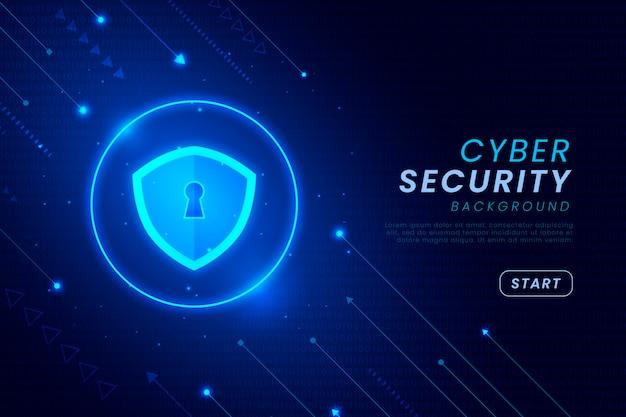 Fondo de seguridad cibernética con elementos brillantes