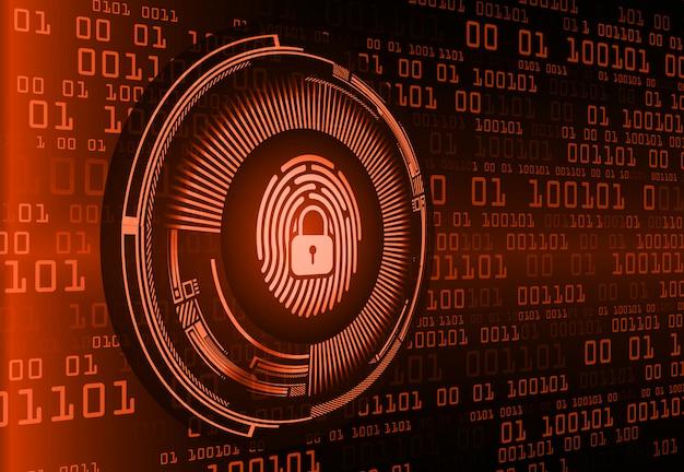 Fondo de seguridad cibernética de red de huella digital. candado cerrado