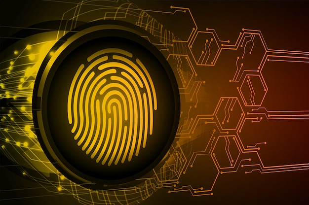 Fondo de seguridad cibernética de la red de huellas dactilares. candado cerrado