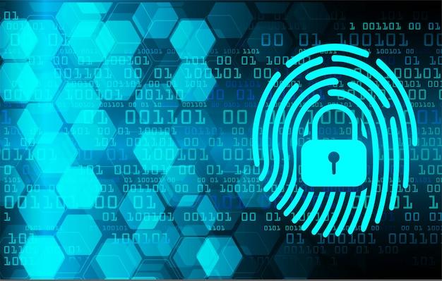 Fondo de seguridad cibernética de red de huellas dactilares. candado cerrado