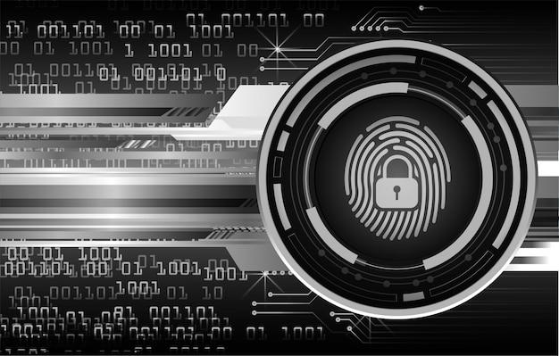 Fondo de seguridad cibernética de red de huellas dactilares, candado cerrado