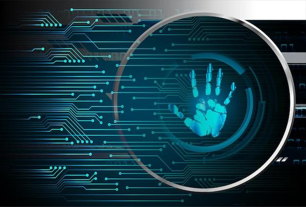 Fondo de seguridad cibernética de red de huellas dactilares de mano