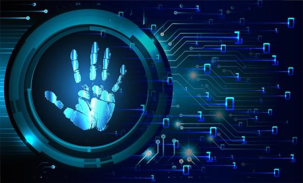 Fondo de seguridad cibernética de la red de huellas dactilares de la mano