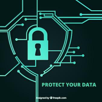 Fondo de seguridad con circuitos connectados