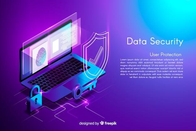 Fondo de seguridad de datos isométricos