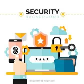 Fondo de seguridad con elementos de colores en diseño plano