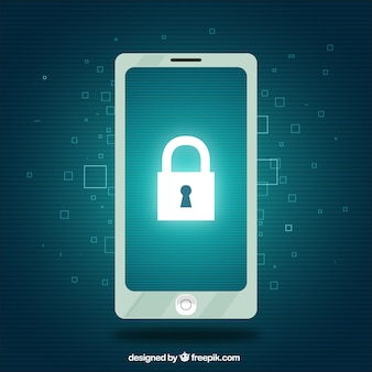 Fondo de seguridad con teléfono móvil y candado