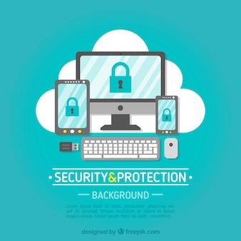 Fondo de seguridad con variedad de dispositivos