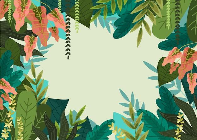 Fondo de selva detallada con hojas de colores