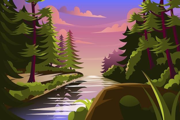 Fondo de selva de dibujos animados con hermoso río