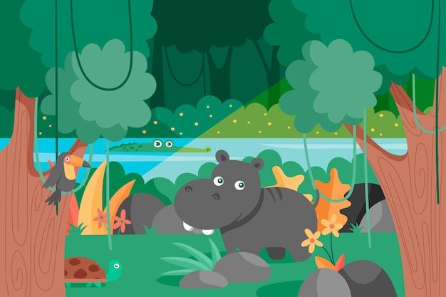 Fondo de selva de dibujos animados