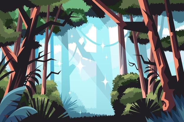 Fondo de selva de estilo de dibujos animados