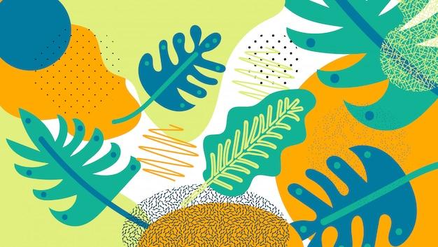 Fondo de selva hojas tropicales.