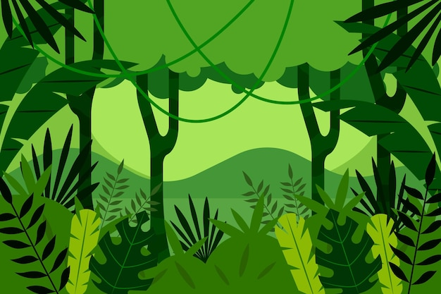 Fondo de selva plana con exuberante vegetación.