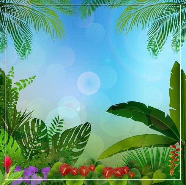 Fondo de selva tropical con plantas tropicales